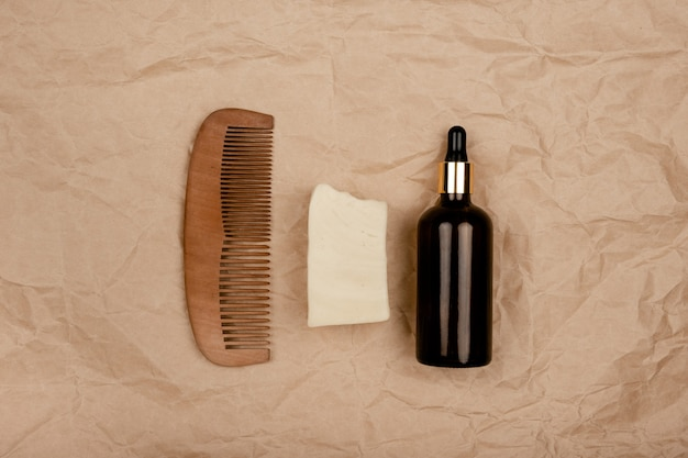 Zero waste health care.  reusable bottles, bamboo toothbrush and sponges. top horizontal view copyspace.