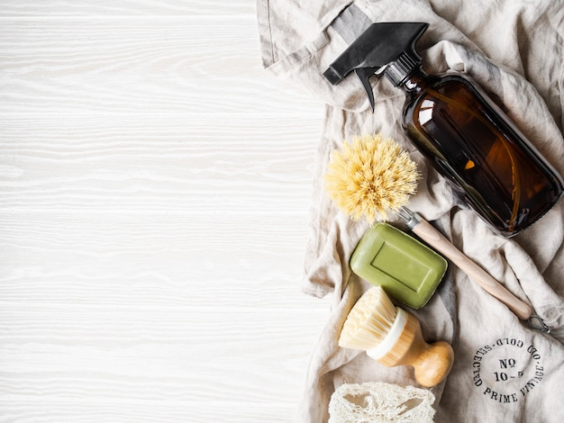 Zero waste home cleaning concept. various items and ingredients for eco home cleaning. copy space