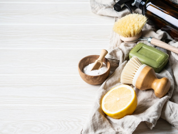 Zero waste home cleaning concept. various items and ingredients for eco home cleaning.