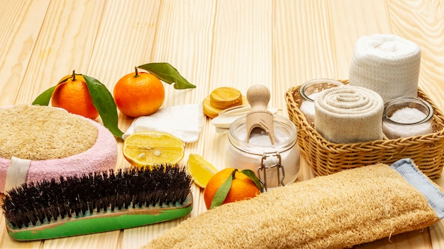 Zero waste home cleaning. eco friendly products set, lifestyle concept. natural ingredients,