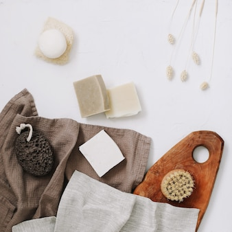 Zero waste kitchen accessories natural soap and eco friendly products in household top view