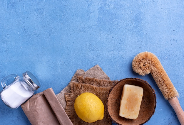 Zero waste natural accessories for cleaning background