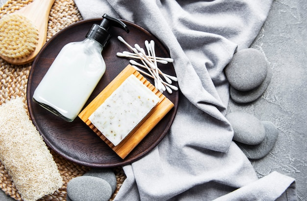 Zero waste natural cosmetics products on concrete