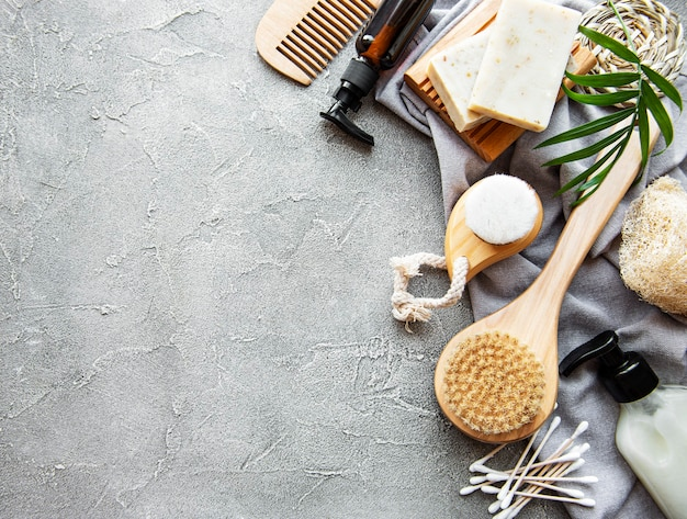 Zero waste natural cosmetics products on concrete.
