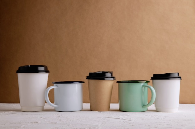 Zero waste products. set of recycle coffee cup. reduce plastic packaging. environment, ecology care, renewable concept