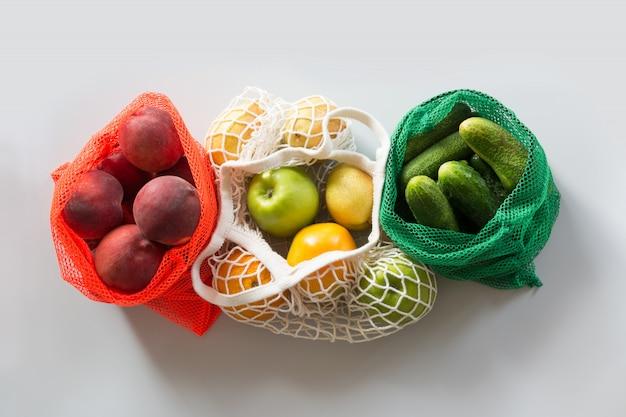 Zero waste. shopping textile bag with food.