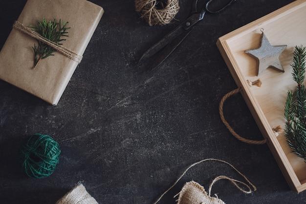 ゼロウェイスト持続可能なグリーン環境にやさしいクリスマスギフトゼロウェイストギフトラッピングフラットレイクラフト