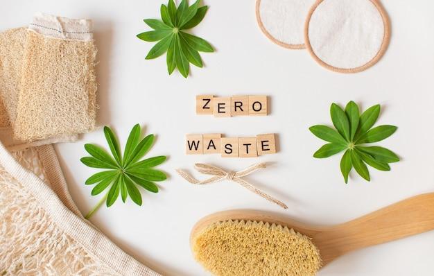 제로 폐기물 텍스트 개념 친환경 욕실 액세서리
