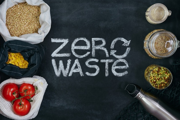 Zero waste title with fresh and healthy food in recycled bags