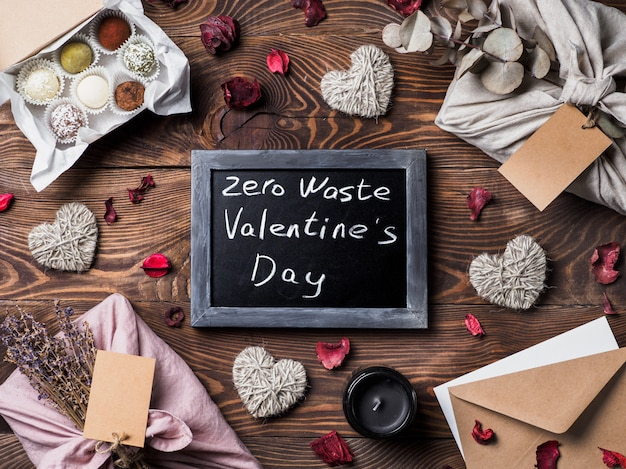 Zero waste valentine's day concept. eco-friendly gift cloth wrapping in furoshiki style