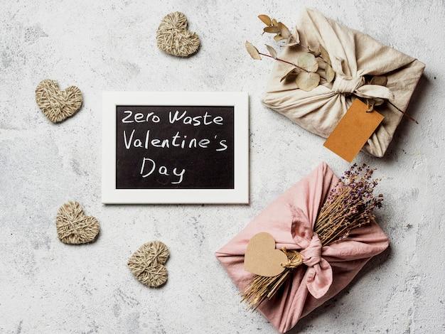 Zero waste valentine's day concept.