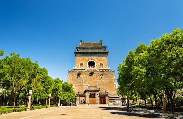 베이징의 Zhonglou 또는 Bell Tower-중국 프리미엄 사진