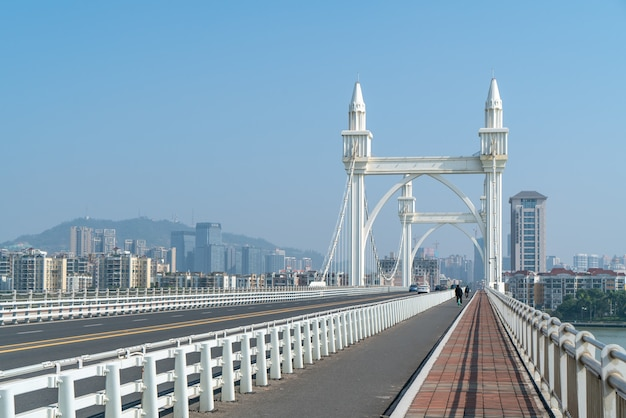 Zhuhai city scenery and coastline baishi bridge landscape