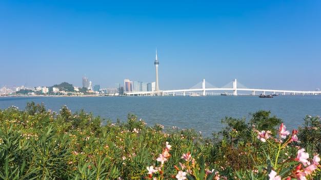 주하이 풍경 마카오 해안선 성 도시 풍경