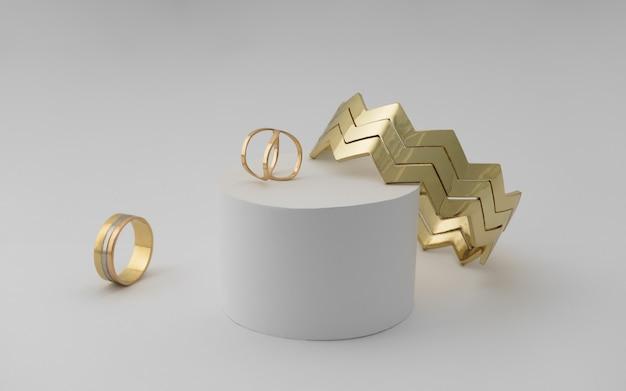 Zigzag shape modern bracelet and rings on white surface