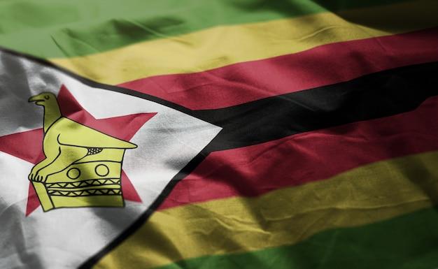Zimbabwe flag rumpled close up