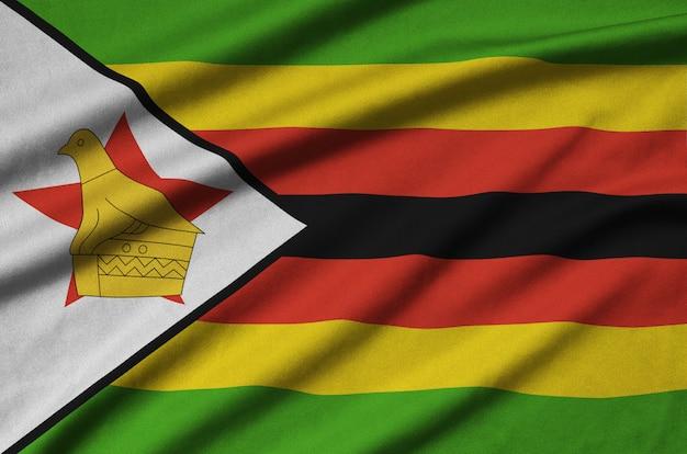 Zimbabwe flag with many folds.
