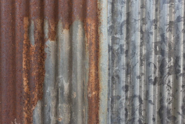 Zinc tile rusty surface close up image.