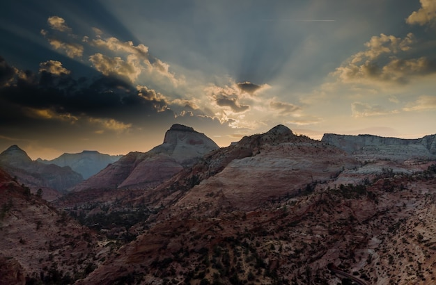 Zion canyon national park, utah, usa amphitheater from inspiration point at sunrise