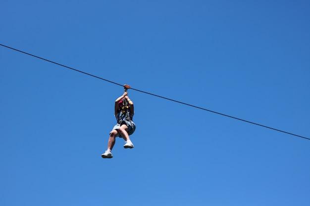 Zip line extreme sport rides