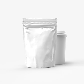 Zip package and coffee cup mockup