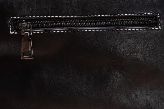黒革のジッパー。デザイナーの背景