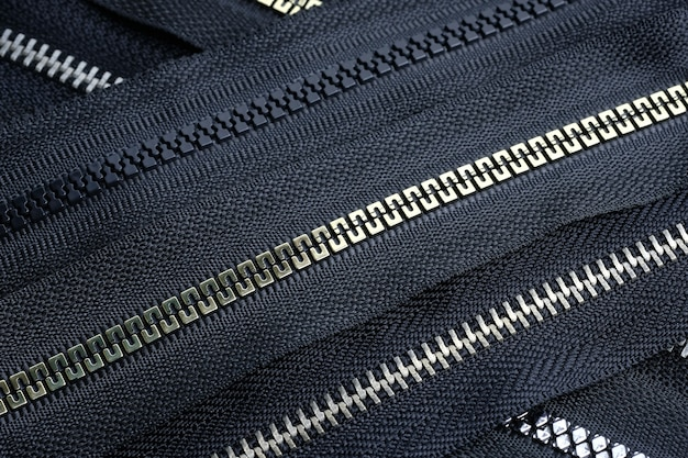 Zipper roll plastic and metal top view.