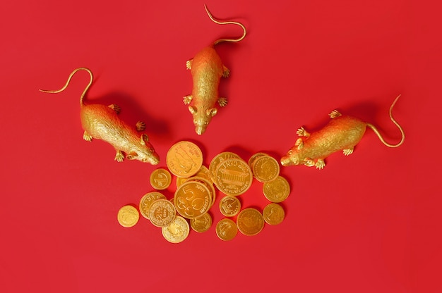 Zodiac gold rats surrounded a gold coin stacked with red background, happy chinese new year.