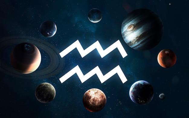 Знак зодиака - водолей. середина солнечной системы. элементы этого изображения, предоставленные наса