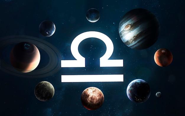 Знак зодиака - весы. середина солнечной системы. элементы этого изображения, предоставленные наса