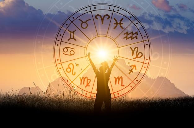 별자리 원 점성술 및 운세 개념 내부의 조디악 표지판