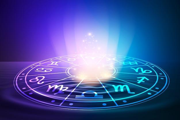 Знаки зодиака внутри круга гороскопа. астрология в небе со многими звездами и лунами, астрология и концепция гороскопов