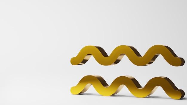 조디악 기호 물병 자리 표지판 흰색 배경 3d 렌더링에 금