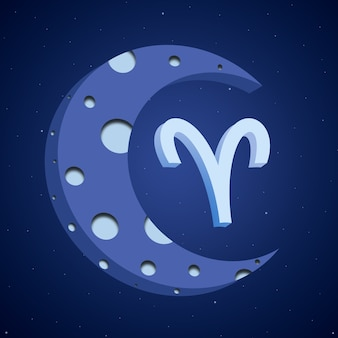Zodiac symbol aries with the moon 3d