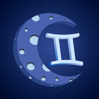 Zodiac symbol gemini with the moon 3d