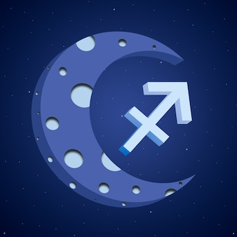 月の星座射手座3d