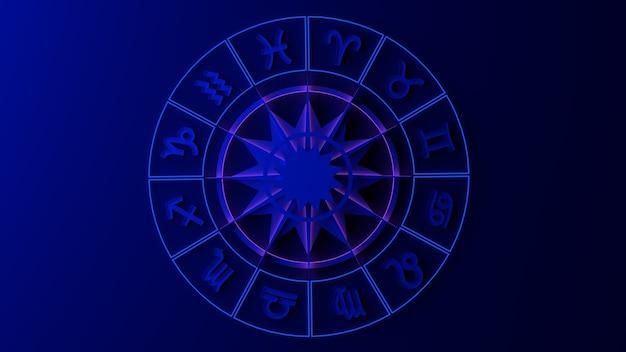標識のある干支ホイール。 3dイラスト。占星術。星占い。