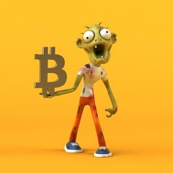 Zombie and bitcoin - 3d character
