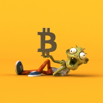 Zombie and bitcoin 3d illustration