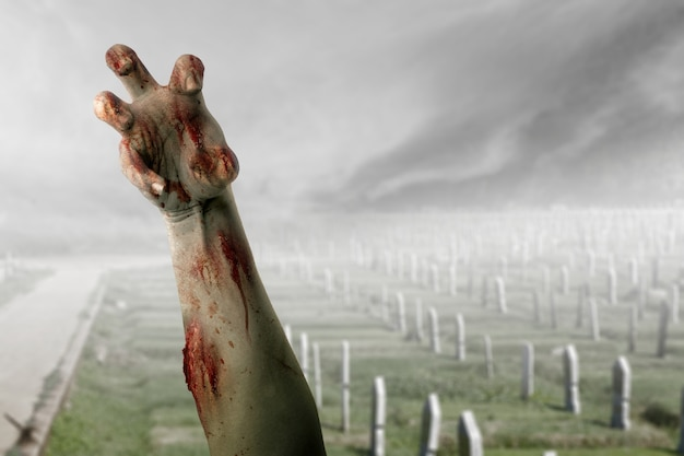 Zombie hand with blood and wound raised from the graveyard