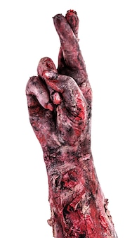 Zombie hand with crossed fingers, isolated white surface.