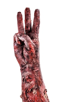 Zombie hand with three fingers, countdown isolated white surface, halloween hand.