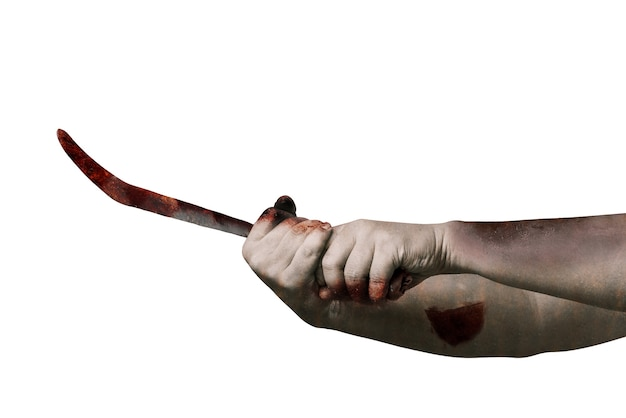 흰색 배경 위에 절연 낫을 들고 상처와 좀비 손
