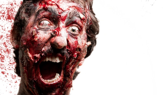 Zombie with blood behind