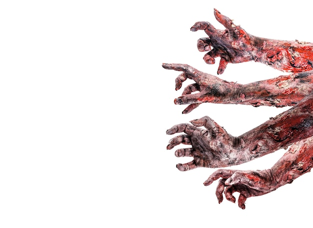 Zombies or monsters attacking hands, image for day of the dead or halloween, isolated white background