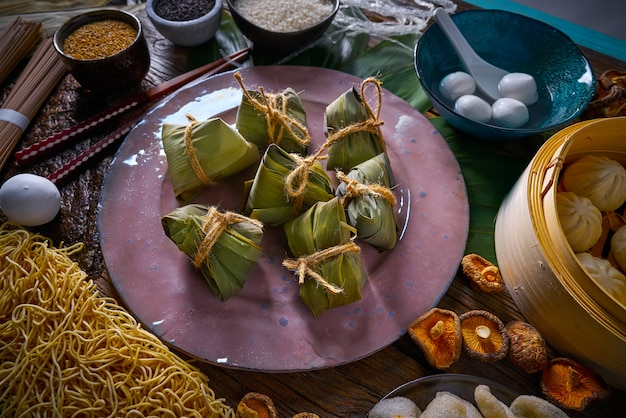 Zongzi rice dumplings pork buns shiitake noodles