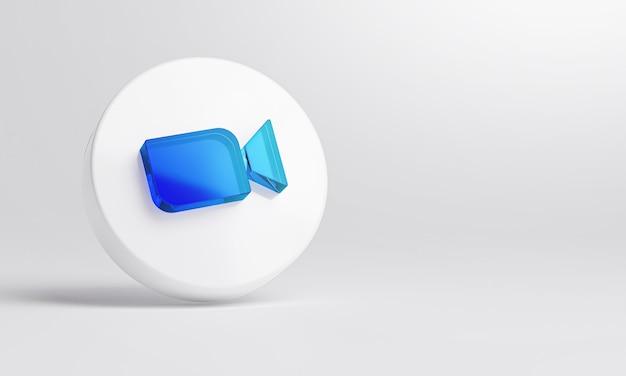 白い背景の3dレンダリングでアクリルガラスアイコンをズームします。