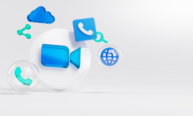 확대 / 축소 아크릴 유리 로고 및 클라우드 전화 아이콘 복사 공간 3d