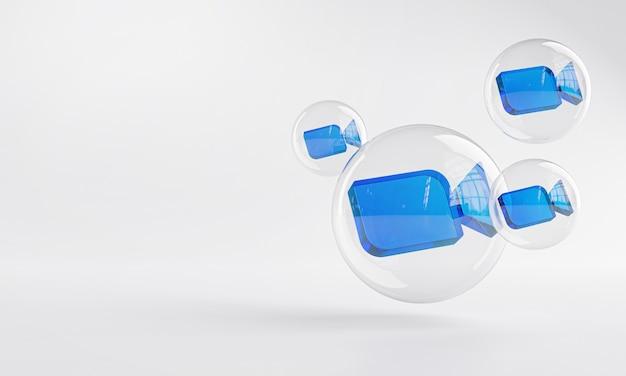 Увеличить акриловые иконки внутри пузырькового стекла копией пространства 3d