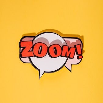 Zoom cartoon exclusive font tag expression on yellow backdrop